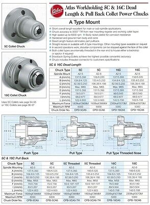 Atlas 16C Power Pull Back Collet Chuck A2-5 Mount CPB-16CA5 Fits Haas Mazak