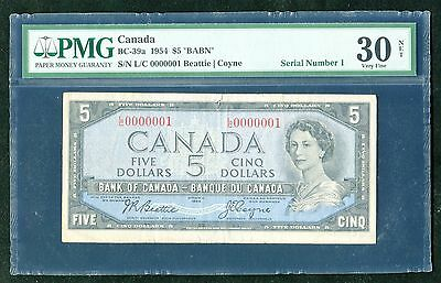 BC-39a 1954 $5 FIVE DOLLARS BANK OF CANADA BANKNOTE *SERIAL #1* PMG VERY FINE-30