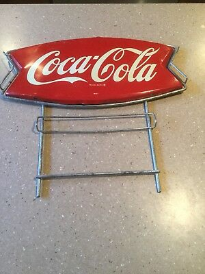 1960's Original Coca Cola Fishtail Tin Sign with Metal Frame & Brackets