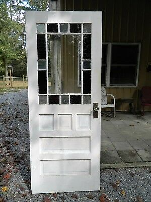 Antique Colored Stained Glass Vintage Door