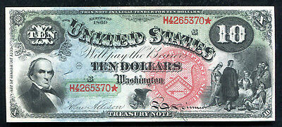 "Fr. 96 1869 $10 ""Rainbow"" Legal Tender United States Note Gem Uncirculated"