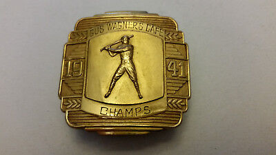 Vintage Gus Wagner's Cafe Baseball Champs 1941 Brass Belt Buckle Cincinnati
