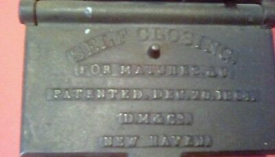 Old 1864 Cast Iron Self Closing Cast Iron Match Safe-Hanging-Really Neat!
