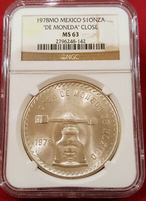 MEXICO 1978 ONZA, 33.625 Grams .925 Silver 41.5mm De Moneda CLOSE, NGC CERTIFIED
