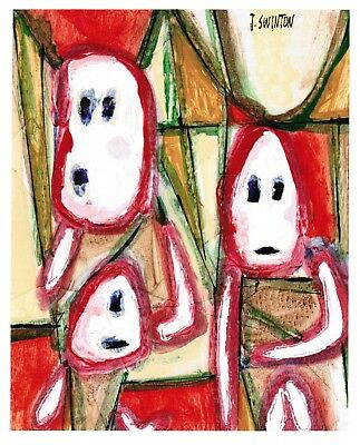 TOGETHER original abstract/folk/outsider? mixed media painting Swinton Canadian