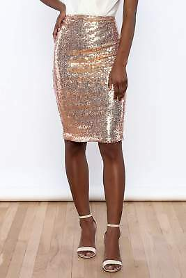 MADE in USA - Womens Rose Gold Sequin Pencil Skirt Holiday Sparkle NYE Outfit