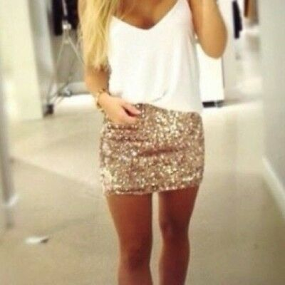 MADE in USA - Womens Rose Gold Sequin Mini Skirt Holiday Sexy Sparkle NYE Outfit