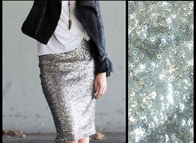 MADE in USA - Womens Silver Sequin Pencil Skirt Holiday Sexy Sparkle NYE Outfit