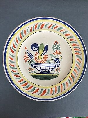 Hemriot Quimper Plate with Basket and Flowers.