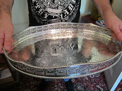 Old Antique Georgian Sheffield Style Silver Plate Large Butlers Size Tray c1925