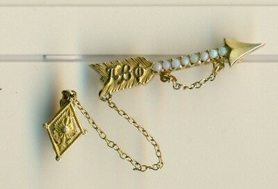 Vintage Pi Beta Phi sorority fraternity gold opal arrow pin w/LUX guard - WoW!