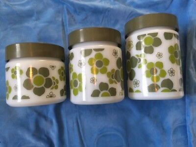 Excellent 3 Vintage GLASS KITCHEN FLOWER JARS GLASSWARE NO CRACKS HIPPIE STYLE!