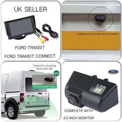 """Reverse Rear Camera Kit For Ford Transit & Connect Van,includes 4:3"""" Screen,Uk"""