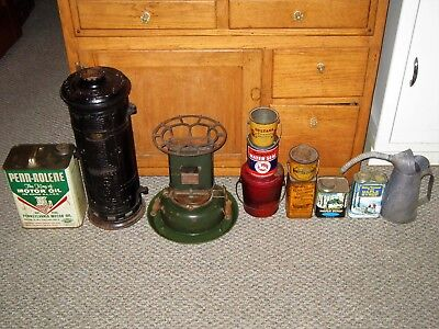 Lot Of 15 Antiques Vintage Collectibles Cast Iron Heater Porcelain Enamel Stove