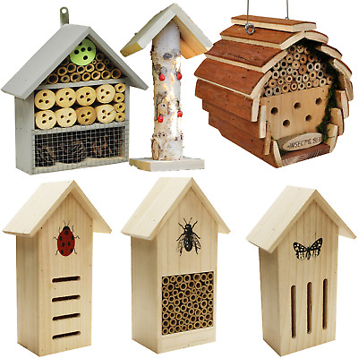 Choice of wooden outdoor bee butterfly and insect houses hotels and homes