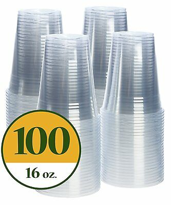 Plastic Cups CRYSTAL CLEAR PET [100 pack] 16 oz
