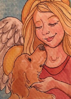ACEO blonde angel with Golden retriever Dog A Watercolor Original Art By NFISH