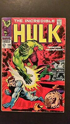 The Incredible Hulk #108 (Oct 1968, Marvel) GD/VG 3.0