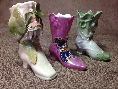 Vintage Antique Porcelain Pink Green Gold Painted 1940s Collectible Shoes Boots