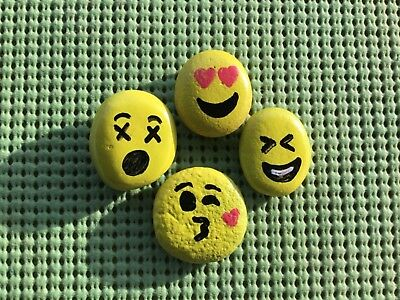 Monica Rocks -Eastern OR - Original Hand Painted Emoji Collection Rock Stone Art