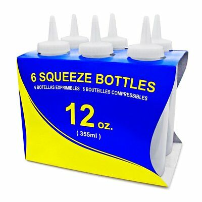 Star Foodservice 26146 Squeeze Bottles, Plastic, 12 oz, Clear, Pack of 6
