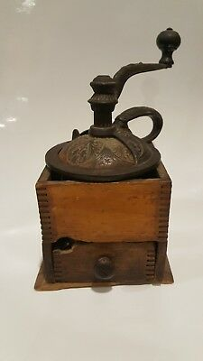 Antique Cast Iron Hand Crank Coffee Grinder with Wood box