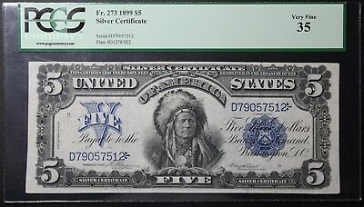 1899 $5 CHIEF PCGS VF 35 Five Dollar Silver Certificate FR# 273