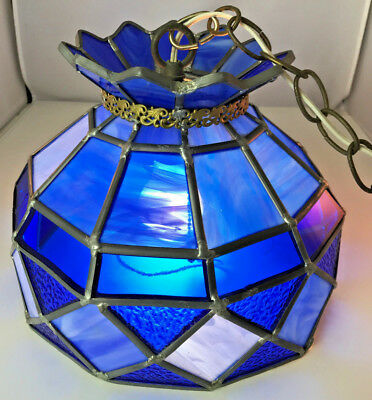 Vintage Leaded Stained Glass 1 Light Pendant Hanging Ceiling Light Cobalt Blue