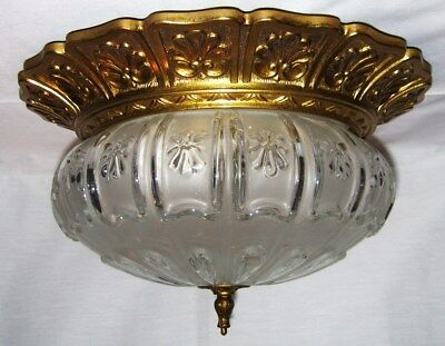 large vintage mid century modern flush mount ceiling light fixture brass & glass
