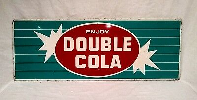Old Original 1950's DOUBLE COLA Metal Advertising Store SIGN Vintage pepsi coke