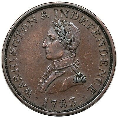 1783 Washington & Independence Token, Small Military Bust, Baker 4A, XF