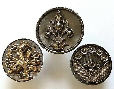 #3J Lot of 3 Med- Large Victorian Steel Cup Pierced Stamp Brass Buttons