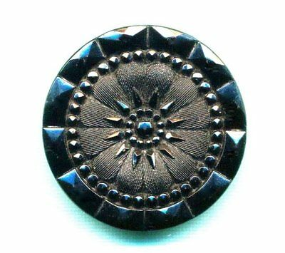 "Antique Button…Big Beautiful Lacy Black Glass, Flower….1&1/4"", Large"