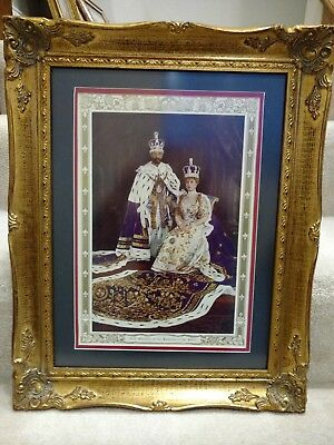 Framed Chromolithograph Coronation of George V and Queen Mary