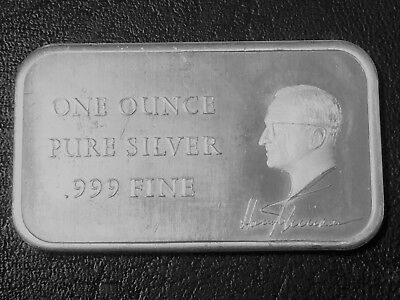 Harry S. Truman President 1 Troy oz .999 Fine Silver Art Bar E5Q8