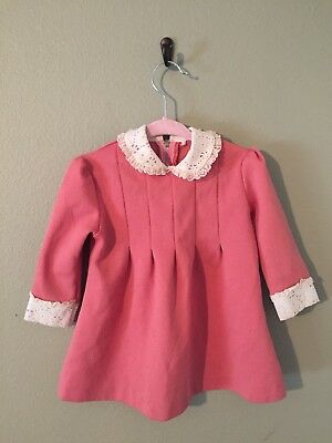 Vintage Toddler Girl's Valentine's Dress Pink Lace Tunic 1-2 years Mod Dress