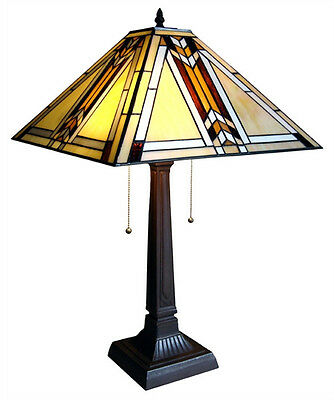 "Matching PAIR Mission Tiffany Style Stained Glass Table Lamps 15"" Shade 23"" Tall"