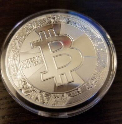 Silver Plated Bitcoin Coin Collectible BTC Coin Collection Gift Physical New B