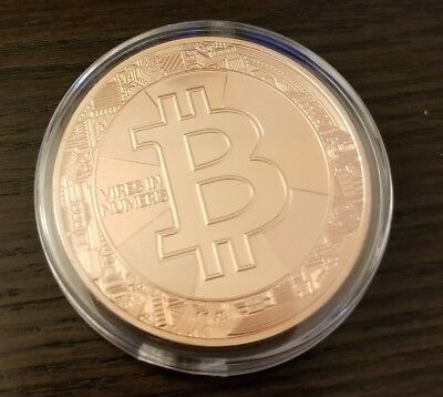 Rose Gold Plated Bitcoin Coin Collectible BTC Art Collection Gift Physical B