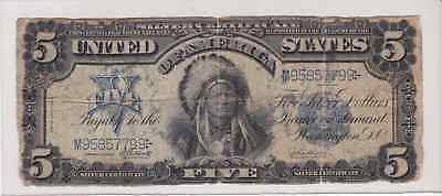 Large Note - 1899 $5 Dollar Silver Certificate Indian Chief