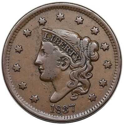 1837 Coronet Head Large Cent, N-11, Beaded Cords, Small Letters, N-11, nice VF