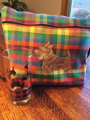 Plaid Scottie dog purse by Dixie bags. Embroidered Scottie dog on front + glass.