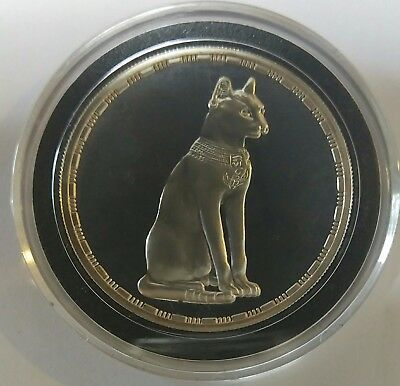 5 Pounds Proof Silver Egypt Ancient Treasures - Goddess Bastet the cat- 1994