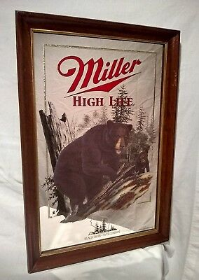 "Vintage Wisconsin Miller High Life Beer ""Black Bear"" Advertising Bar Sign Mirror"