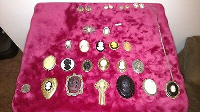 *lot of 24* Antique CAMEO brooch  W. Germany/ misc Estate -, necklace, earrings