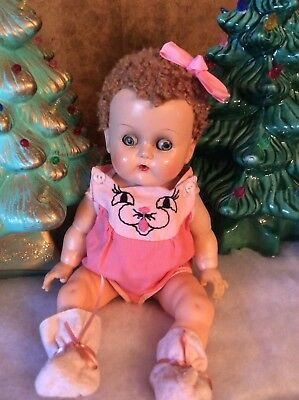"""Vintage 1950's Ideal 13"""" Betsy Wetsy Rubber Body & Caracul Hair Doll"""