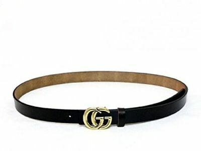 Genuine Leather Thin Belts Fashion Womens Gucci Logo Pattern For Jeans BLACK