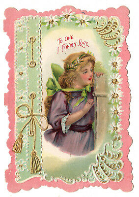 Beautiful Vintage Antique Victorian Valentine Card With Sweet Victorian Girl