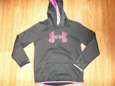 Under Armour STORM 1 Girls Youth Large Black  Hot Pink HOODIE COLD GEAR