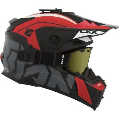 Ckx Titan Altitude Glossy Red Black Modular Snowmobile Winter Helmet Goggle 2018